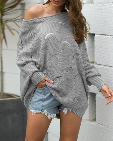 Boat Neck Crochet Sweater