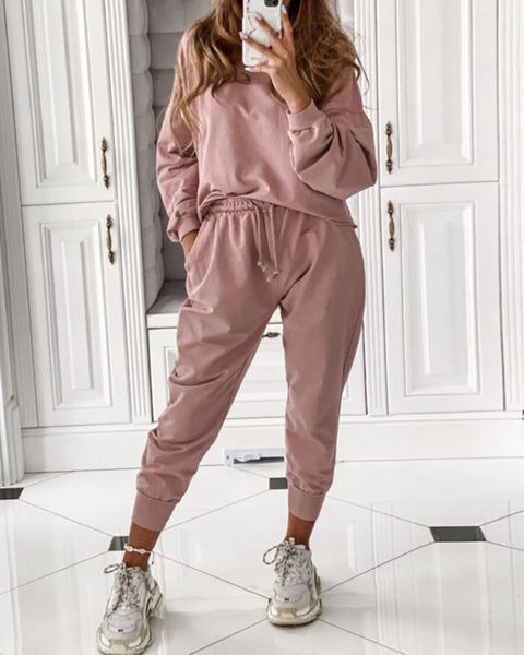 Lantern Sleeve Solid Top & Drawstring Pants Sets