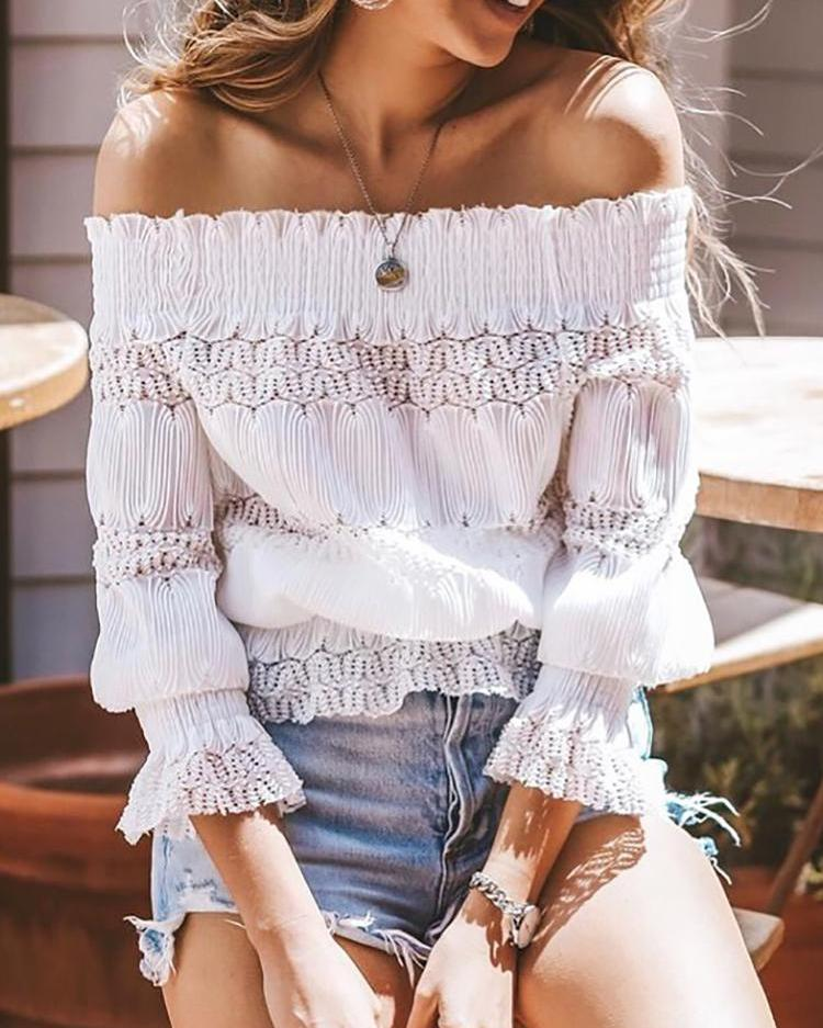 Off Shoulder Hollow Out Shirring Blouse