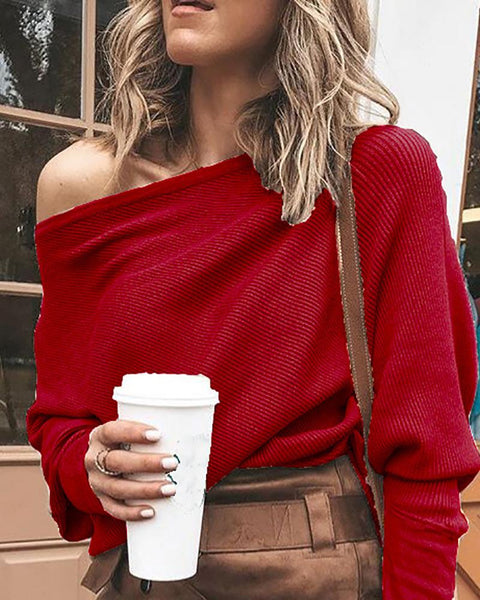 Solid One Shoulder Batwing Sleeve T-Shirt