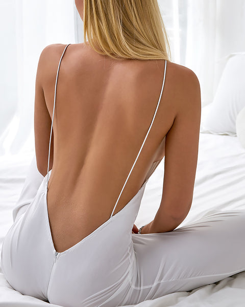 Spaghetti Strap Open Back Jumpsuit