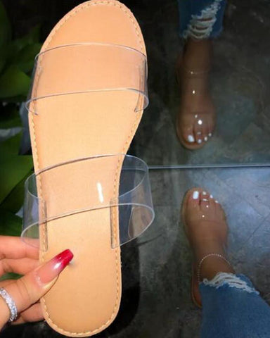 Clear Strap Open Toe Slides