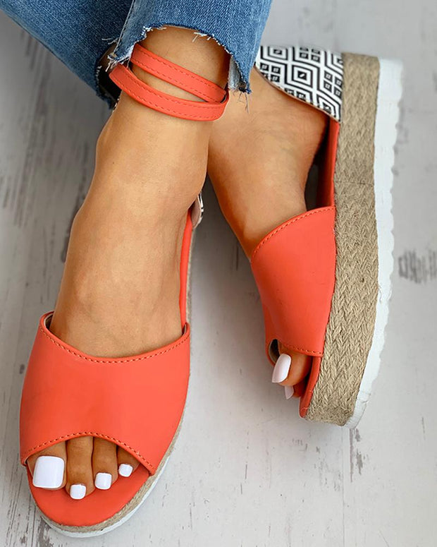 Peep Toe Woven Flax Heeled Sandals