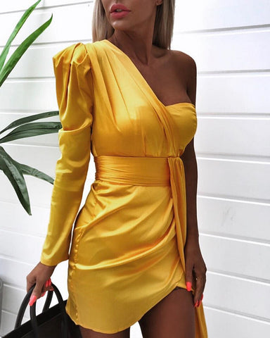 One Shoulder Ruched Design Irregular Dress