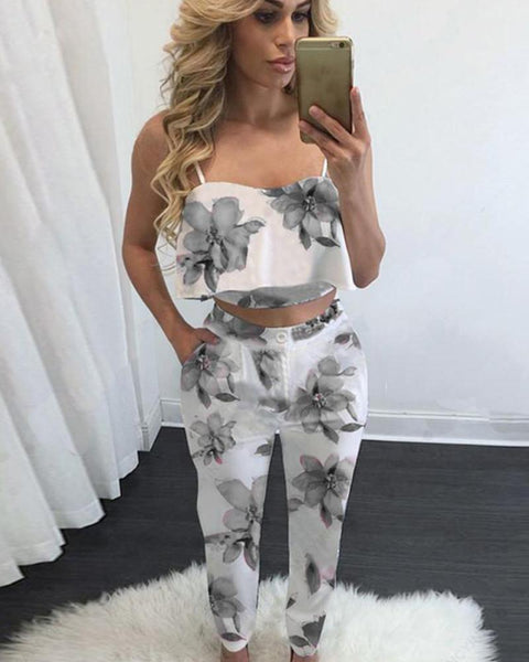 Printed camisole vest casual pants two-piece suit