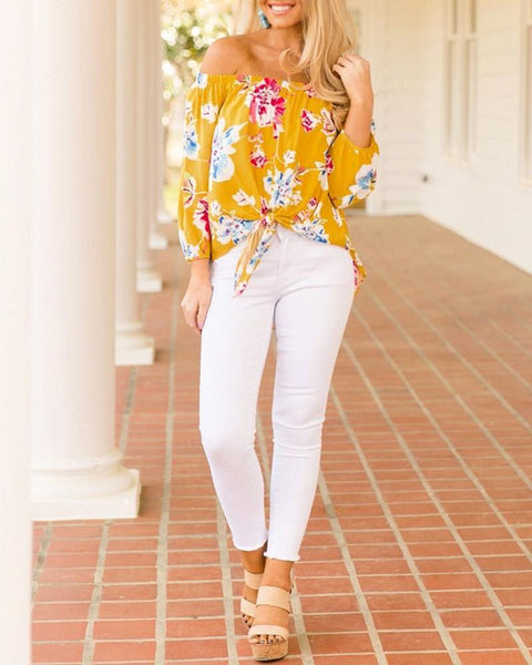 Slash Neck Knot Front Floral Blouse
