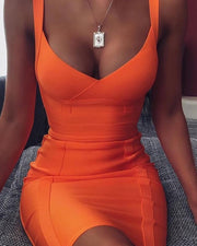 Thick Strap Plain Bodycon Dress