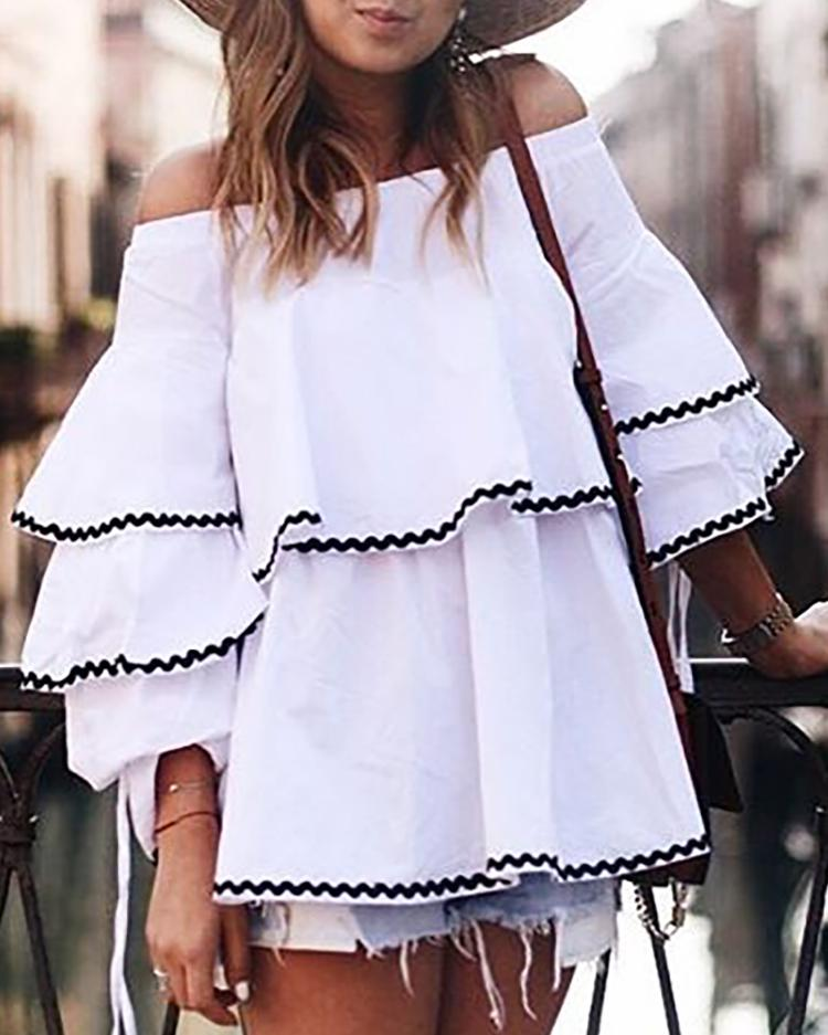Sexy Off Shoulder Layered Flared Blouse