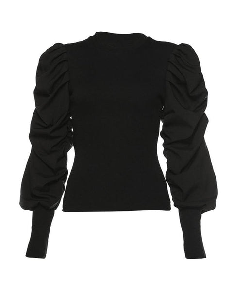 Solid Vintage Puff Sleeve Top
