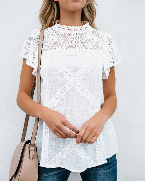 Lace Yoke Keyhole Back Crisscross T-Shirt