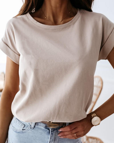 Solid Round Neck Casual T-shirt