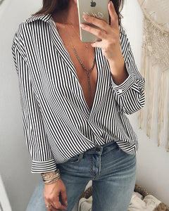 Fashion Pinstripes Plunge Casual Blouse