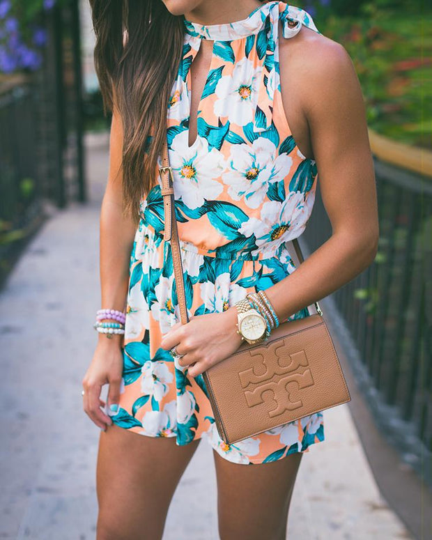 Sexy Tied Neck Sleeveless Casual Floral Romper