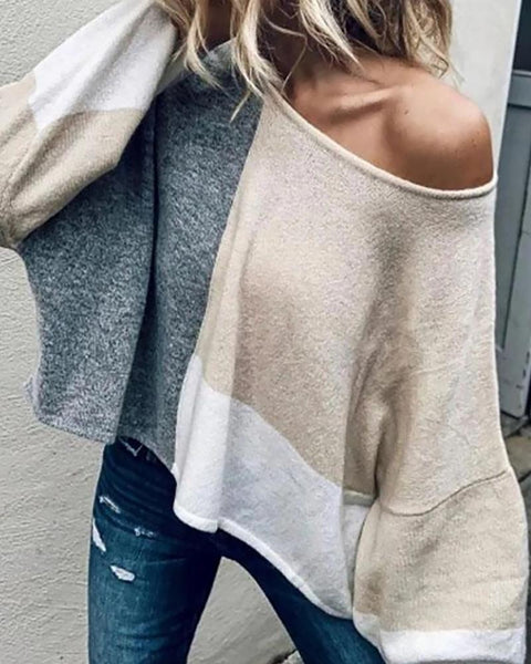 Colorblock Long Sleeve Knit Casual Sweater
