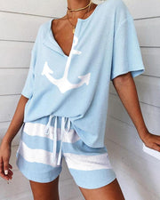 Boat Anchor Print Striped Short Sleeve Pajamas Set