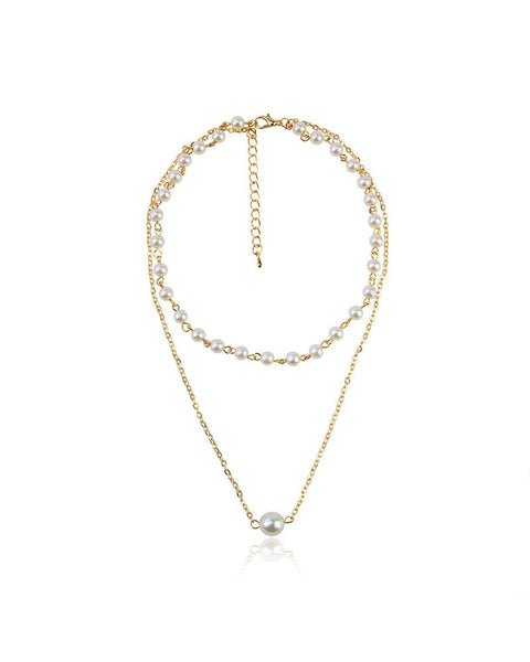Bohemian Vintage Gold Pearl Pendant Multilayer Necklace