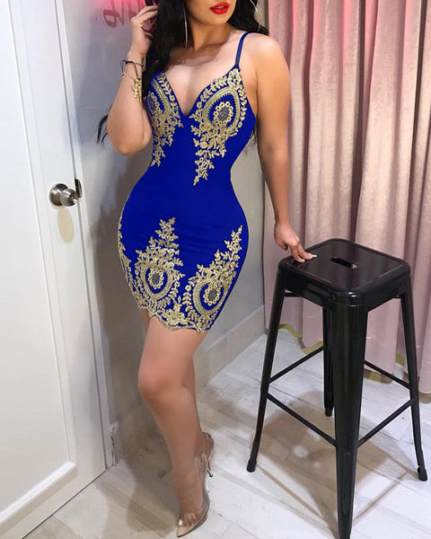 Spaghetti Strap Lace Applique Bodycon Dress