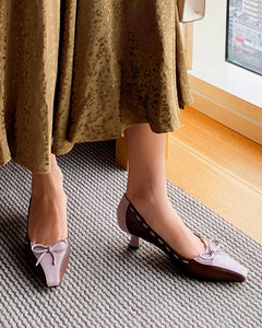 Square Toe Bow Tie Pumps