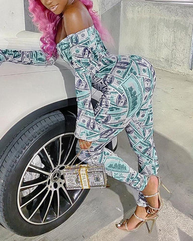 Dollar Printing Long Sleeve Jumpsuit