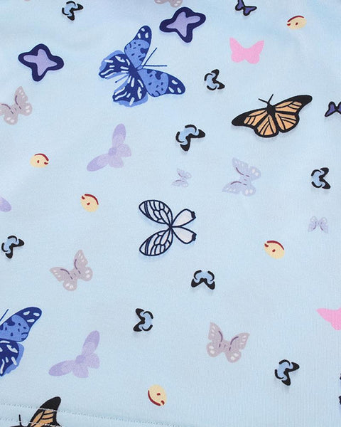 Butterfly Print Crop Top & Mini Skirt