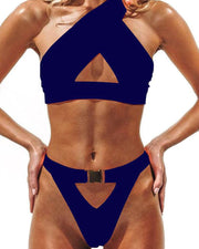 One Shoulder Cut Out Bikini Set