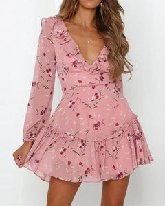 Floral Ruffle Swing Mini Dress