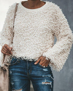 Solid Sherpa Fleece Knited Bell Sleeve Pullover Sweater