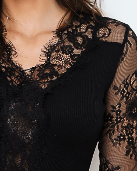 Eyelash Lace Long Sleeve Blouse