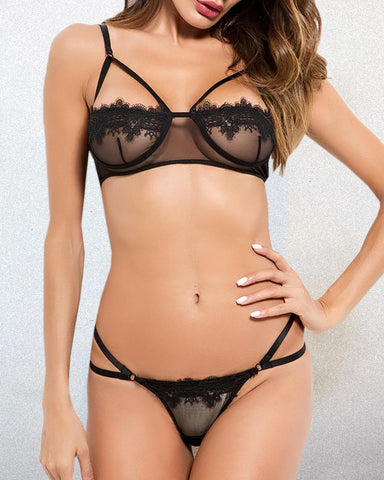 Solid Halter Eyelash Lace Casual Bra Sets