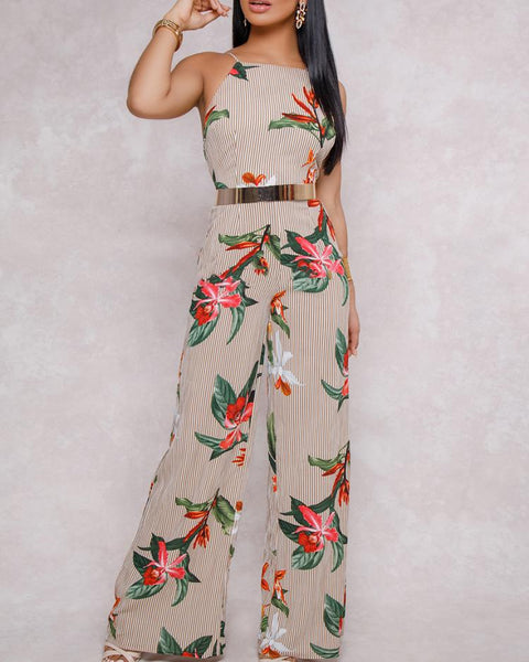 Floral Printed Halter Open Back Casual Wide Leg Jumpsuit