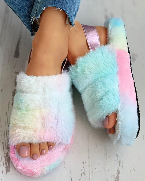 Peep Toe Fluffy Flat Slipper