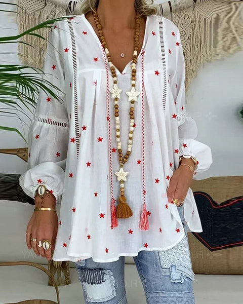 Star Print Hollow Out Tassel Design Top