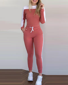 Colorblock Long Sleeve Top & Drawstring Pants Set