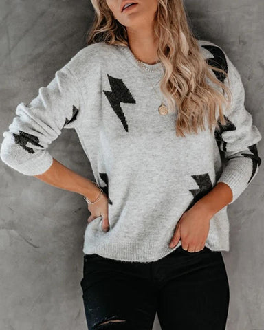 Lightning Pattern Round Neck Sweater