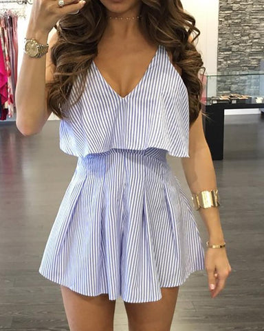 Pinstripes Double Strap Frills Pleated Romper