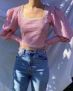 Gingham Long Mutton Sleeve Crop Loose T-Shirts