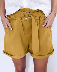 Solid Elastic Waist Loose Shorts