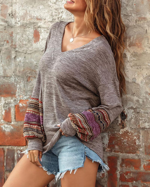 Colorblock Lantern Sleeve Casual Top