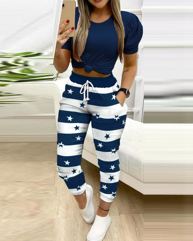 Colorblock Skinny Cropped Tops Drawstring Pants Suit Sets