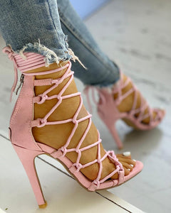 Hollow Out Lace Up Thin Heels Sandals