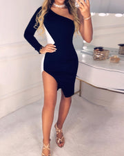Colorblock One Shoulder Slit Bodycon Dress