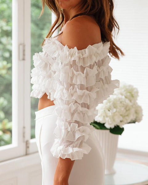 Off Shoulder Ruffle  Lace Tube Crop Tops