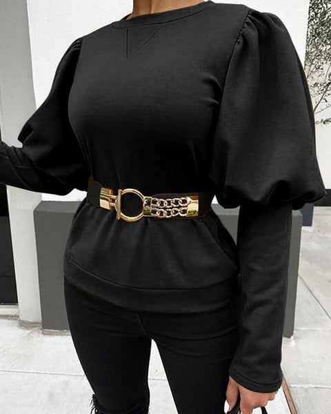 Solid Round Neck Lantern Sleeve Top
