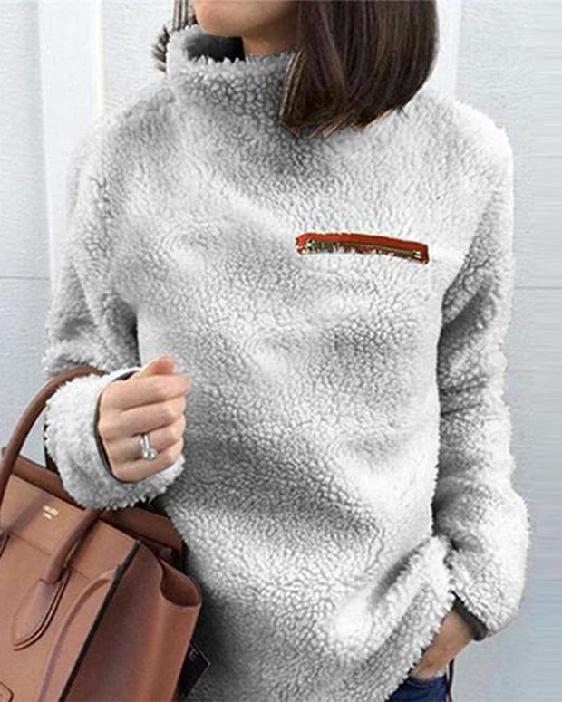 Solid Turtleneck Pullover Fleece Loose Sweatshirt