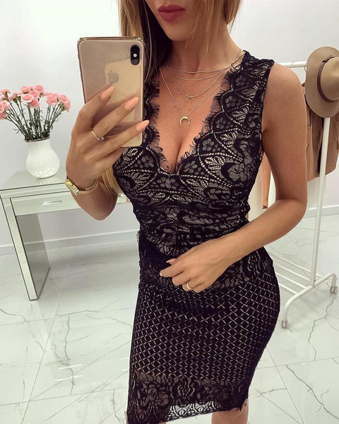 V-Neck Eyelash Lace Bodycon Dress