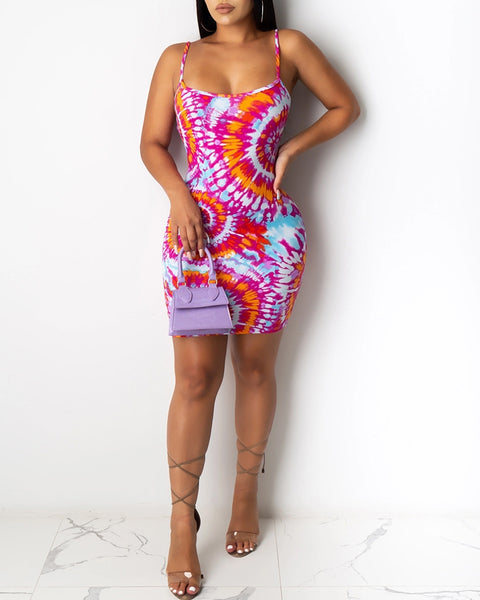 Spaghetti Strap Tie Dye Print Bodycon Dress