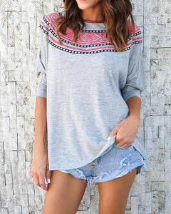 Fashion Print Batwing Sleeve T-shirt