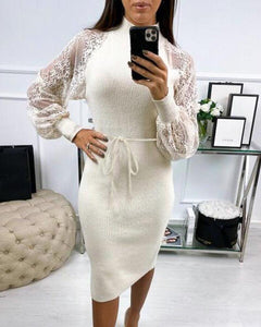 Embroidered Mesh Sleeve Midi Dress