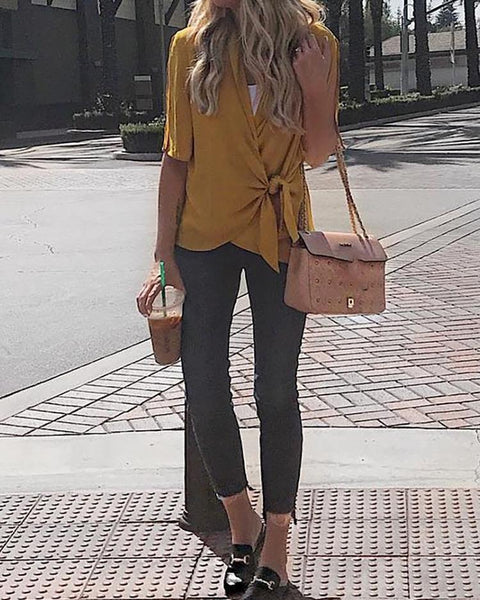 Short Sleeve Tie Side Wrap Blouse