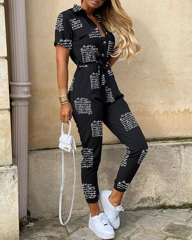 Letter Print Short Sleeve Jumpsuit